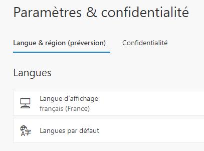 langue et region